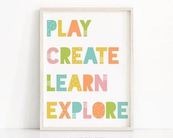 Playroom Decor, Nursery Wall Art, Kids Print, Nursery Print, Kids Wall Art, Digital Download Nursery Art, Play, Create, Learn, Explore Print