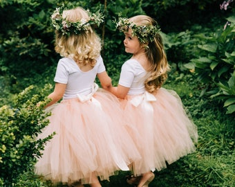 0949a6516 Flower girl nude tulle tutu skirt, flower girl dress, wedding girls tutu  skirt, blush bridesmaids, baby birthday tutu