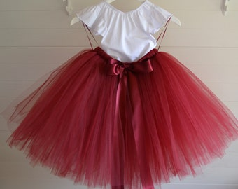 adc5a1842d Burgundy girls tutu skirt, baby tutu skirt in burgundy, flower girl tutu, ballet  tutu, burgundy tulle skirt for girls, flower girl dress