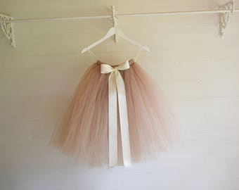Tutu, girls tutu, flower girl tutu, calf length tutu, latte tutu, champagne tutu, baby tutu, tulle skirt, flower girl dress, tutu for girls