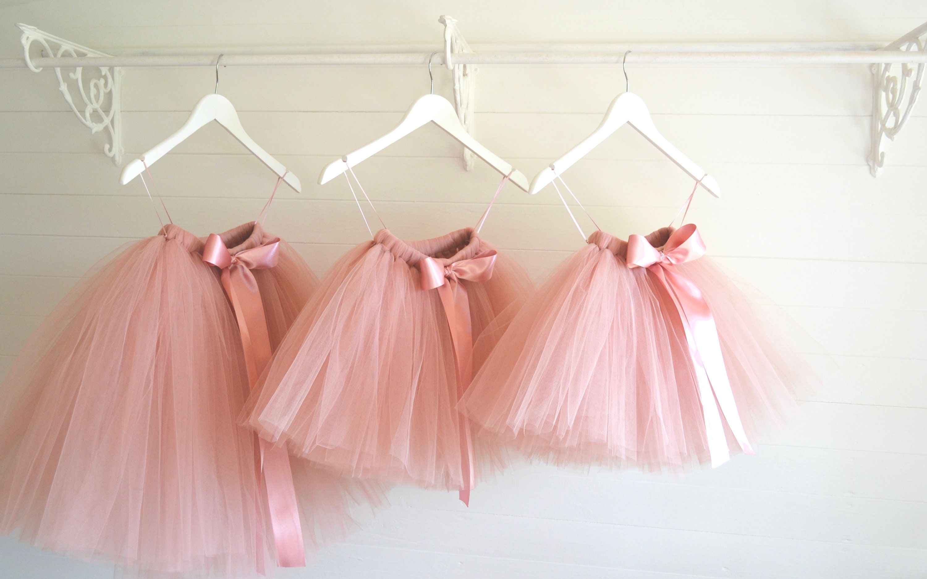 Long Rose Gold Tutu Flower Girl Dress Dusky Blush Tutu Etsy