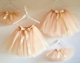 Tutu, girls tutu, flower girl tutu, flower girl dress, vintage gold tutu, tulle skirt, tea length tutu, flower girl dress, toddler tutu