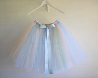 Unicorn tutu, girls tutu, pastel tutu, Flower girl tutu, rainbow tutu skirt, tutu baby tutu, tulle skirt, tulle tutu, flower girl dress