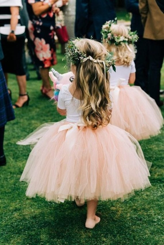 Girls nude flower girl tutu skirt, wedding tutu, ballet tutu, bridesmaid tutu skirt, baby tutu, tulle skirt, flower girl dress