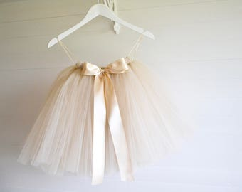 Champagne tutu, girls tutu, flower girl tutu, wedding tutu, toddler tutu skirt, wedding dress, baby tutu, tulle skirt, flower girl dress
