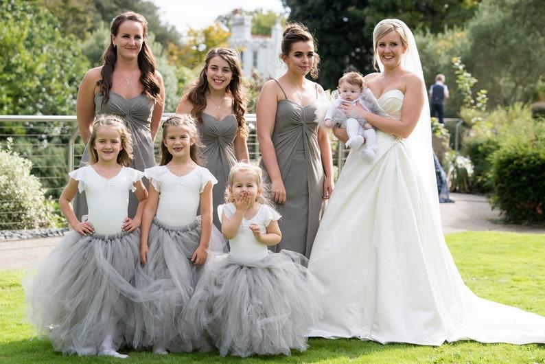 206ffc0a9 Long grey girls tutu skirt Flower Girl Dress Flower Girl | Etsy