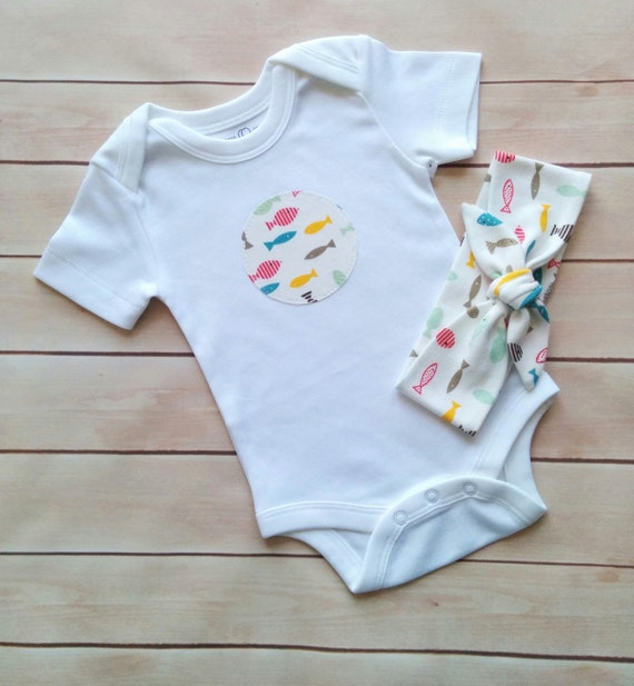 082d14d496f61 Baby Girl Fish Onesie /Newborn bodysuit /Baby girl snap shirt/Coming home  romper/ Baby girl shower gift/Fish print applique gift