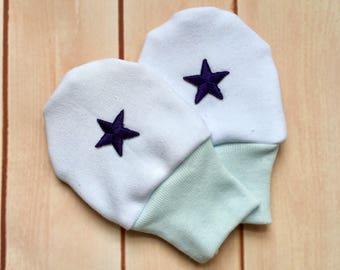 Newborn scratch mittens / Baby mittens/Newborn cowboy mittens/Organic  cotton no scratch mittens/Baby hospital  protective mittens/ Stars