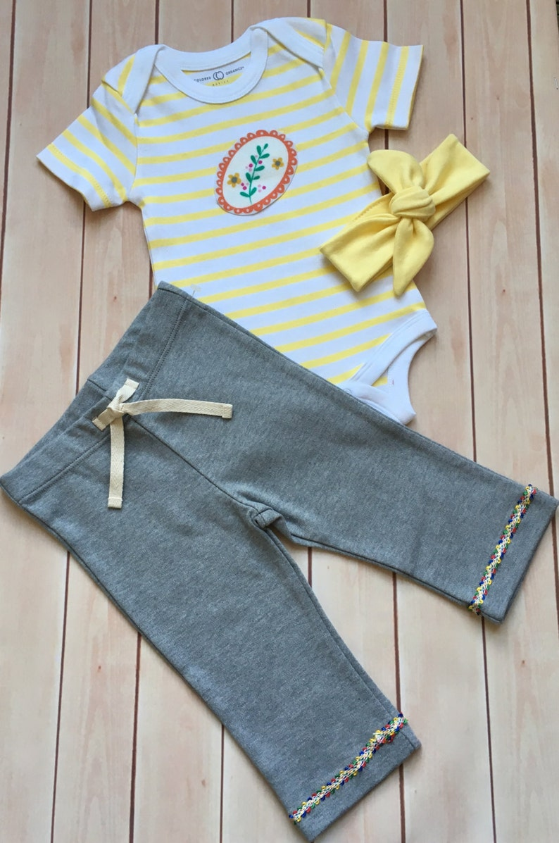 35022d3564528 Baby girl bodysuit and pants/Organic Cotton Newborn Baby Set/Baby girl  shower gift/Yellow stripe going home outfit/ Bumble Bee outfit
