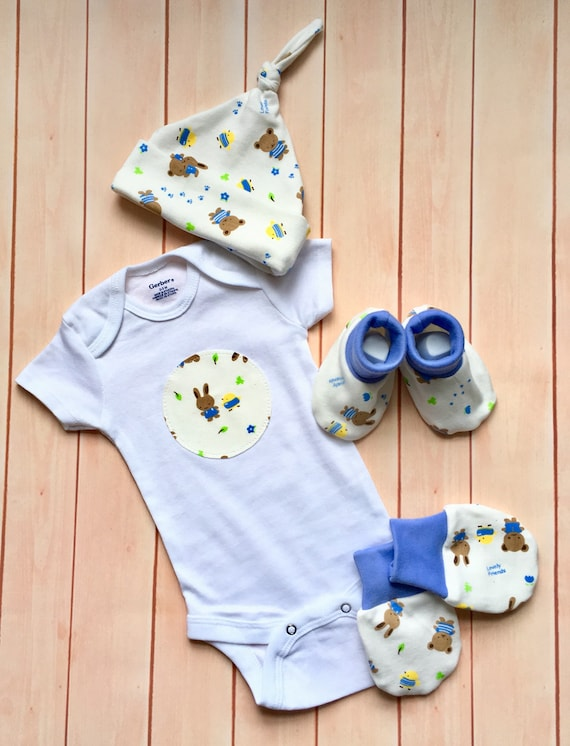 Baby bear vest and scratch mittens mitts set baby shower gift set idea