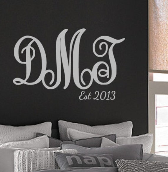monogram vinyl wall decal initials husband wife | etsy