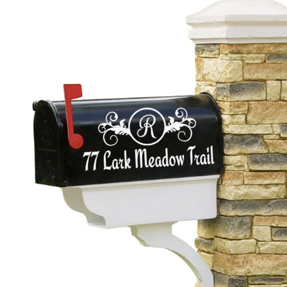 Mailbox Decal Numbers Street and Initial Set of 2