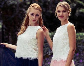 Lace Sleeveless Bridesmaid Top Shirt  by Matchimony