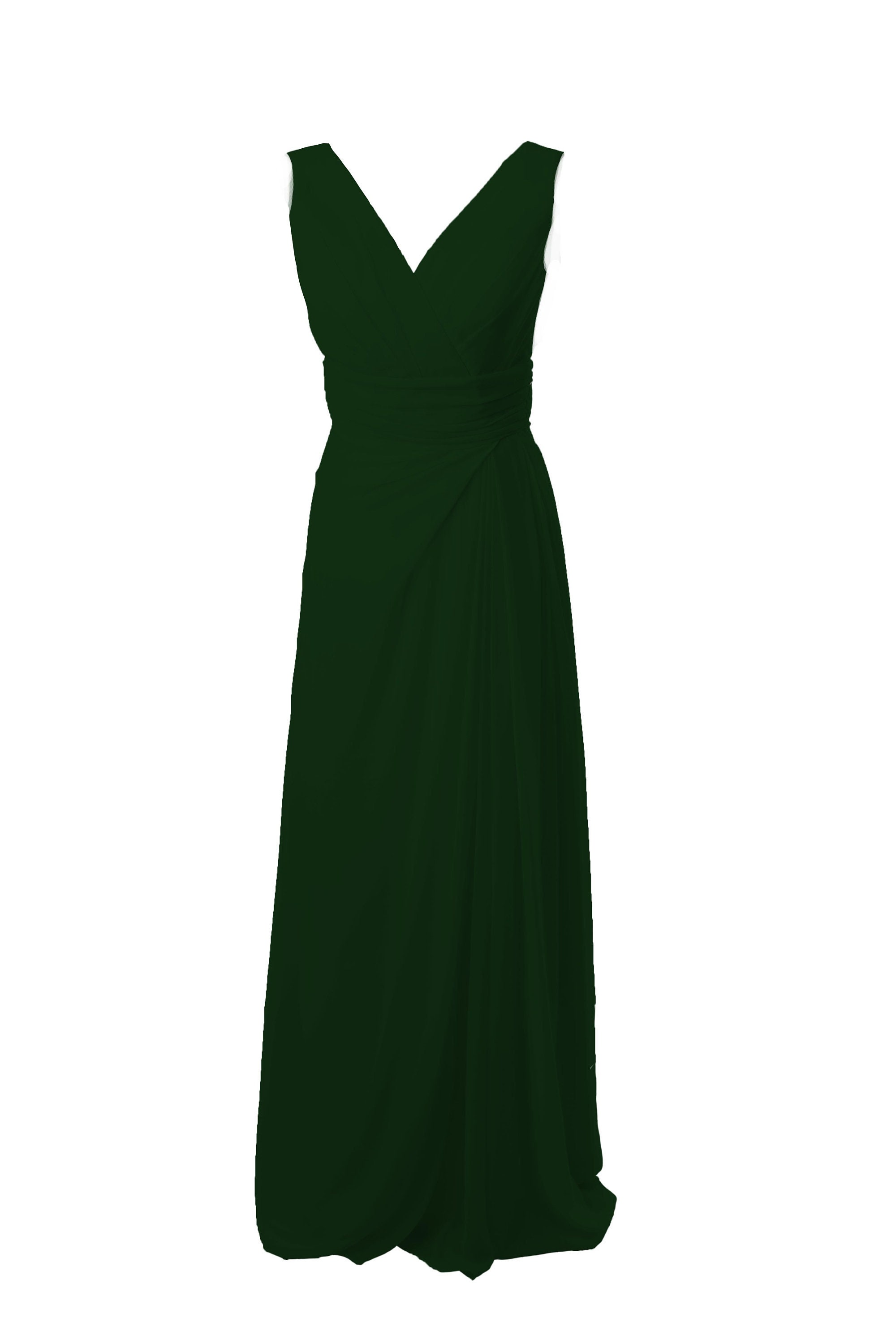 ad1e4c64257 Forest Green Classic Long Bridesmaid Dress with straps by