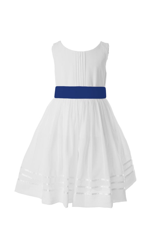 White Flower Girl Dress with Royal Blue Sash available in 37 | Etsy