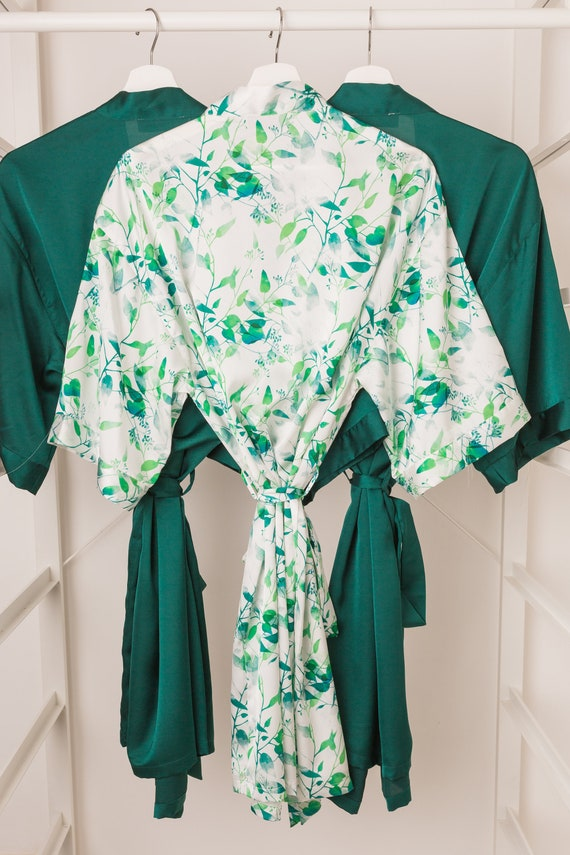 019eeaa66c Green Floral Dressing Gown   Robe by Matchimony