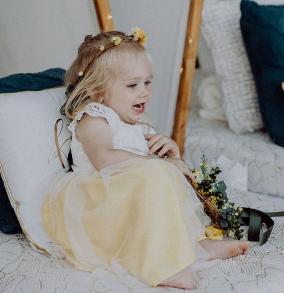Lemon Lace and Tulle Flower Girl Dress With Matching Silk Sash available in over 35 colours by Matchimony