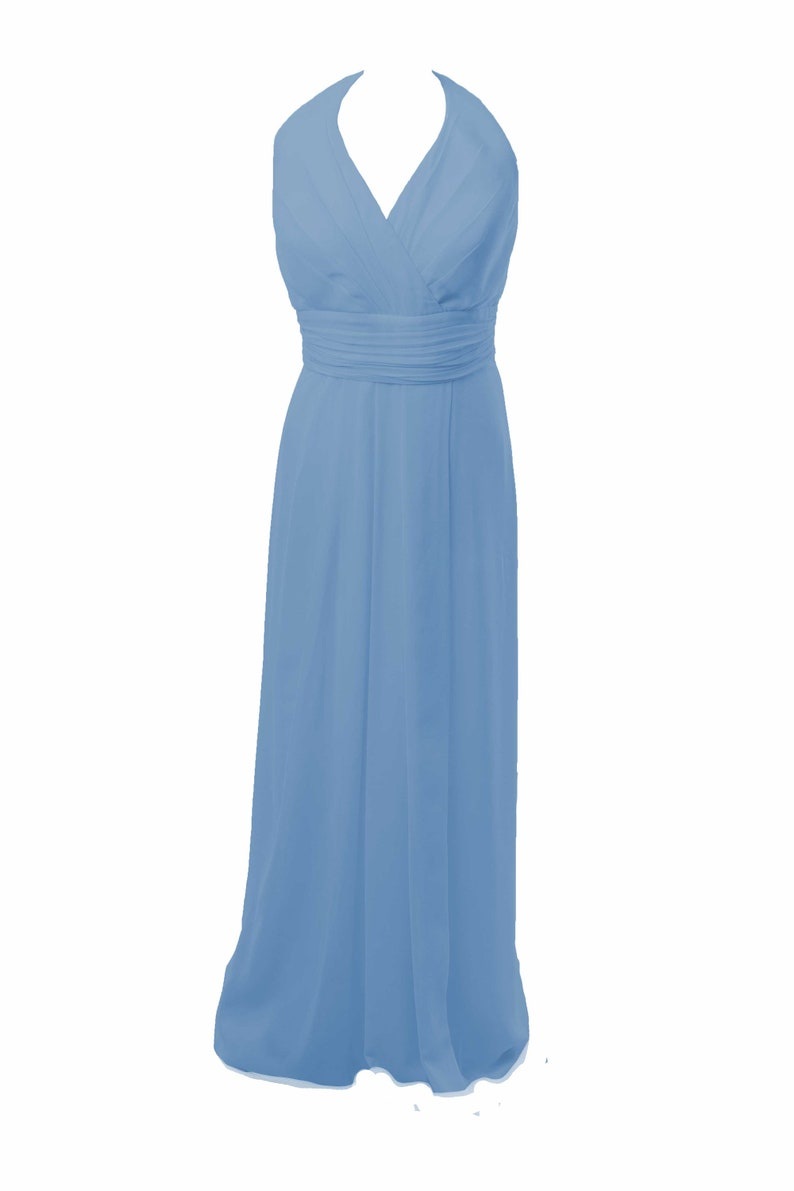 Powder Blue Halterneck Long BridesmaidProm Party  Evening Maxi Dress by Matchimony