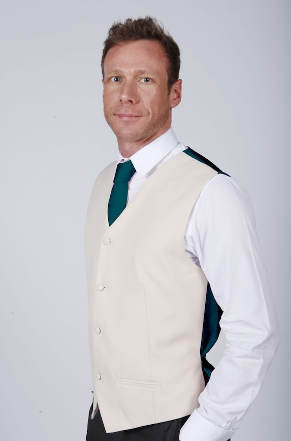 Matchimony Champagne Wedding/Prom Waistcoat available with Navy, Grey or Black Waistcoat Front