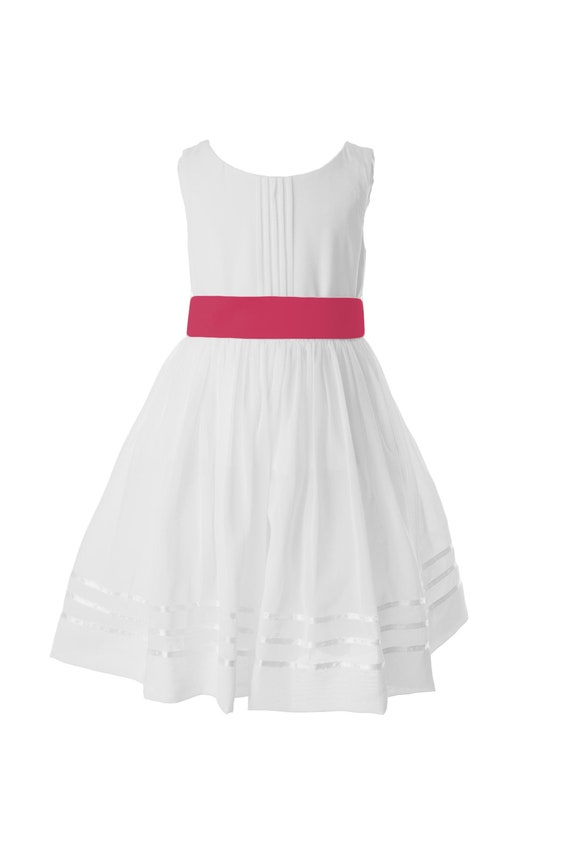 White flower girl dress with bright pink sash available in 37 etsy image 0 mightylinksfo