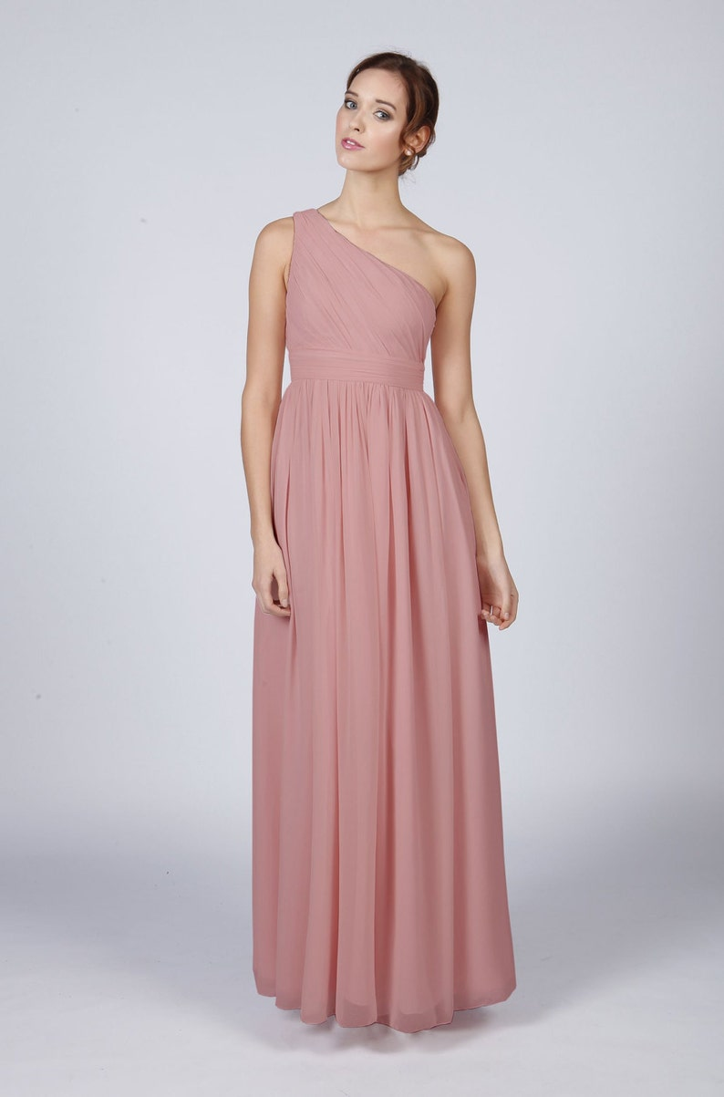 cfbc78e905 Dusky Pink One Shoulder Long Bridesmaid Prom Dress by