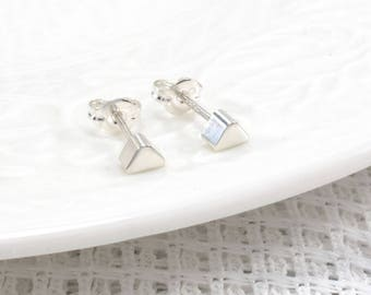 Tiny Triangle Stud Earrings Silver Earrings Dainty Studs Cute Small Simple Geometric Studs Minimalist Studs Everyday Jewelry Gift For Her