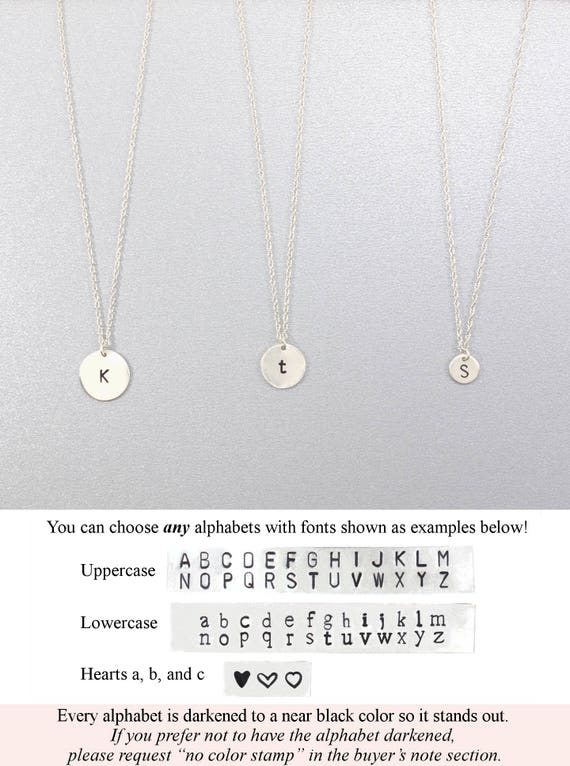 Tiny Initial Necklace Personalized Hand Stamped Jewelry Sterling Silver Personalized Necklace Minimal Jewelry