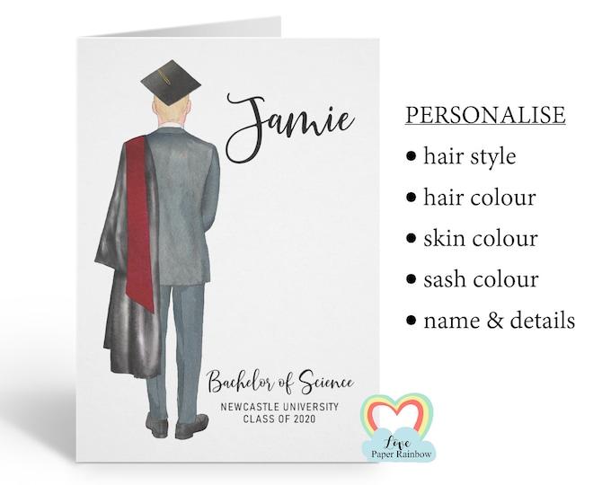 personalised graduation card, graduation gift, class of 2020, boy graduation card, personalised boy graduation