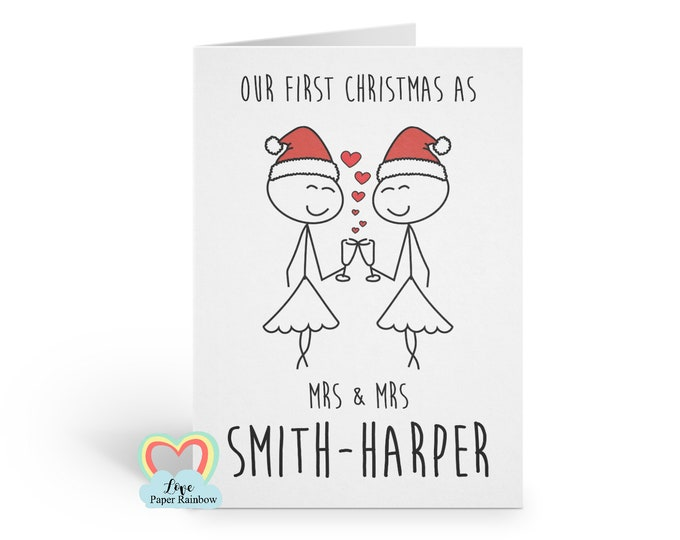LESBIAN christmas card, our first christmas as Mrs and Mrs, lesbian 1st christmas card, lesbian first christmas card, our 1st christmas