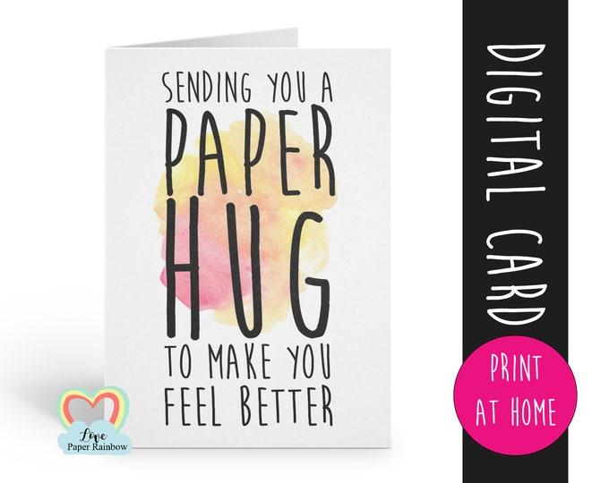 hug card printable thinking of you instant download virtual hug quarantine social distance distancing sending you a paper hug get better