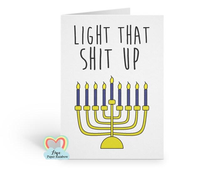 Funny Hanukkah Card | Joke Hanukkah | light that shit up | Adult hanukkah card | Menorah Card | love paper rainbow | jewish card