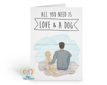 man and dog card, personalised dog card, personalised birthday card, dog lover card, labrador card, father's day card, dog dad card