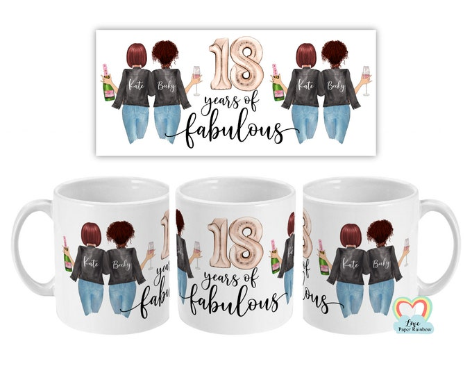 18th birthday mug, best friend 18th mug, personalised mug, personalised birthday mug, best friend gift, 18 years of fabulous, 18th gift