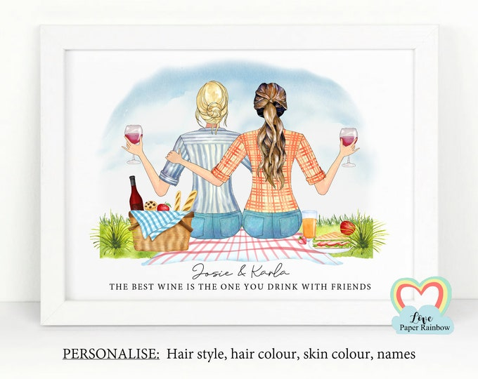 personalised best friend print, wine best friends gift, best friend birthday gift, wine best friends print, picnic gift, wine quote
