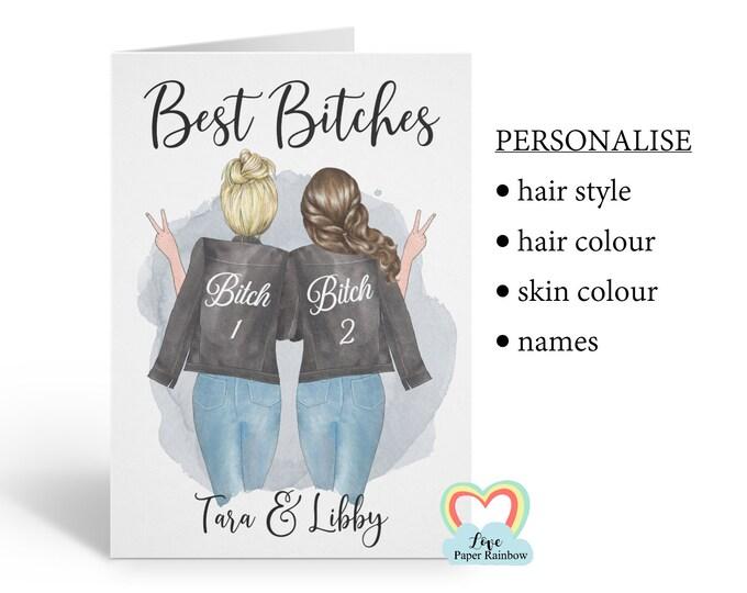 best bitches card, bitch card, best friend card, miss you best friend, favourite bitch, favourite bitch card, funny best friend card