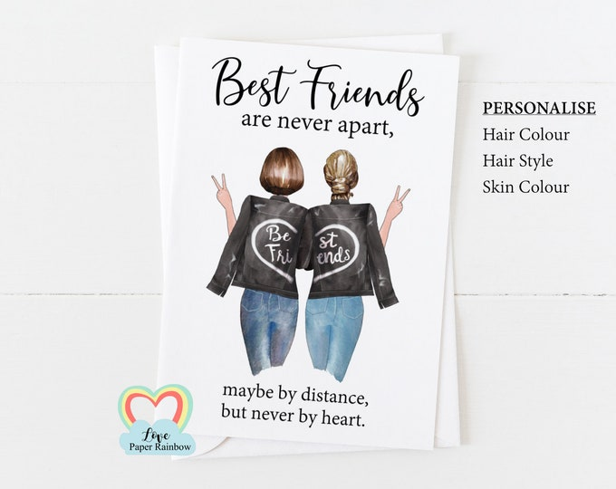 personalised best friend card, best friend birthday card, best friend quote, best friend personalised gift, best friends are never apart