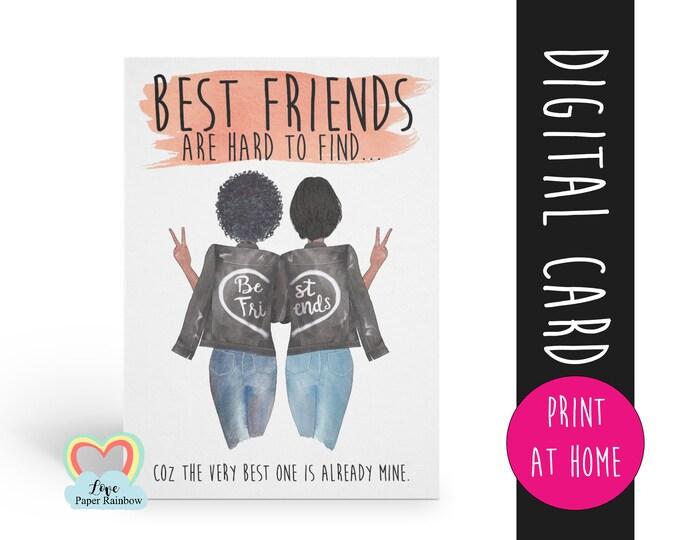 custom best friend card template printable best friend diy card best friends are hard to find best friend quote download digital best friend