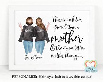 personalised mum birthday gift there's no better friend than a mother mother's day gift mother and daughter framed print custom portrait