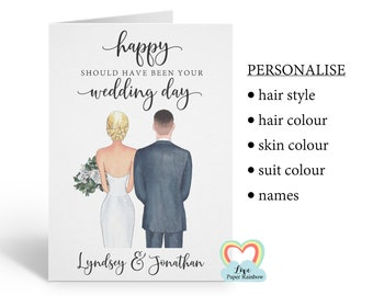 Happy should have been your wedding day card, Postponed wedding day card, personalised, should have been married