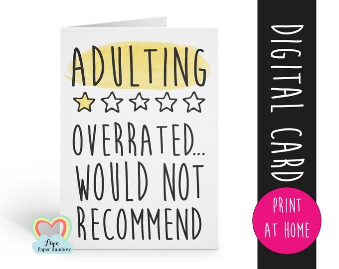 adulting, diy birthday card, printable birthday cards, digital birthday card, 18th birthday card printable, 21st birthday card printable,