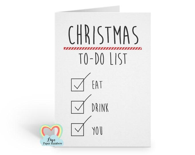 rude christmas card, girlfriend christmas card, boyfriend christmas card, naughty christmas card, rude xmas card, christmas to do list