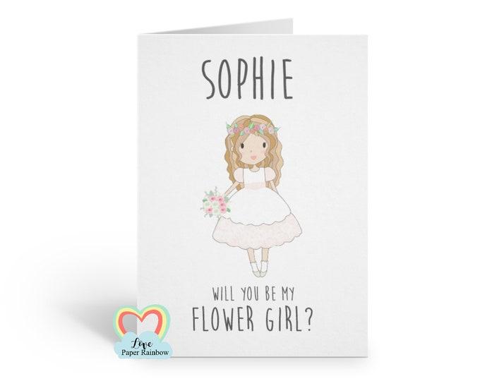 flower girl card, will you be my flower girl, flower girl proposal, personalised flower girl card, custom flower girl card