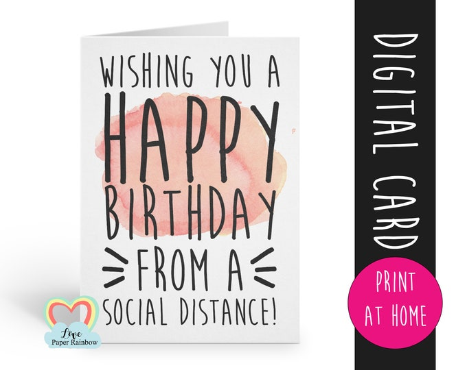 printable birthday card social distance instant download funny social distancing birthday card happy birthday from a social distance digital