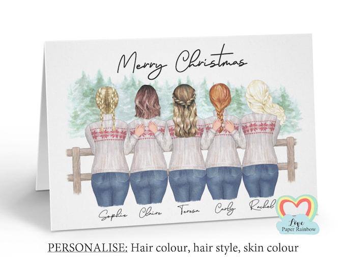 best friends christmas card, personalised best friend christmas cards, sisters christmas card, 5 best friends christmas card