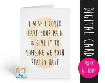 get well soon card, funny condolences card, feeling down, I'm sorry, thinking of you, funny cancer card, chemotherapy, grieving card, funny