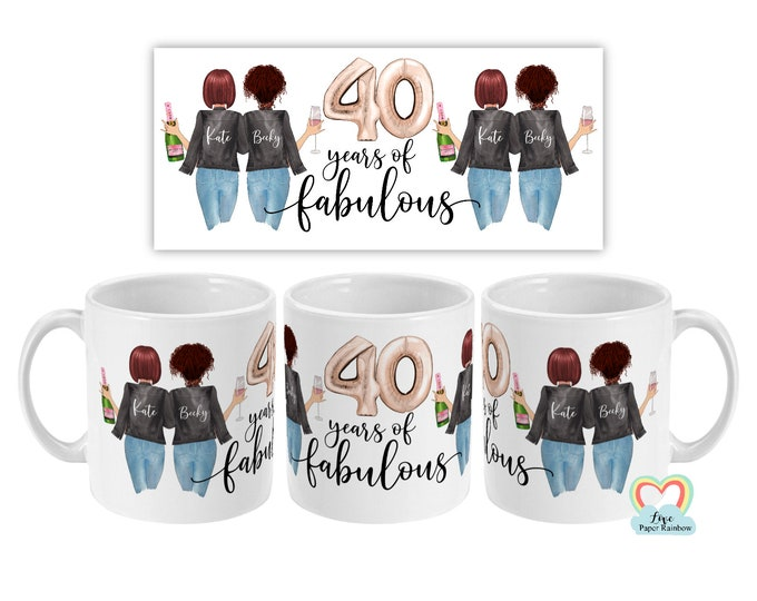40th birthday mug, best friend 40th mug, personalised mug, personalised birthday mug, best friend gift, 40 years of fabulous, 40th gift