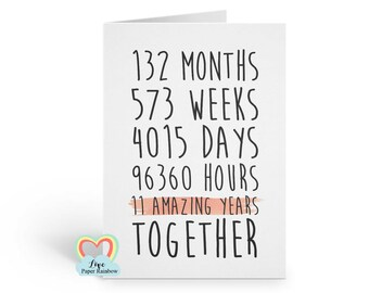 11th anniversary card, 11th wedding anniversary card, 11 years together, 11 amazing years, valentines card, gay anniversary card, romantic