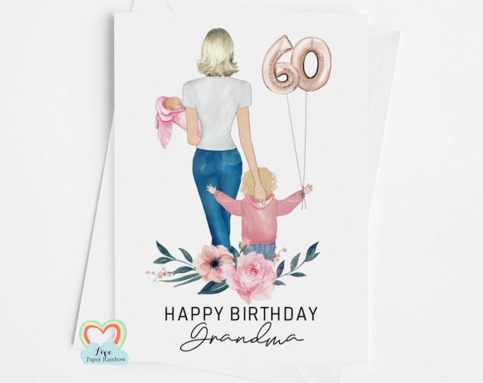 grandma birthday card, grandma 60th birthday card, personalised grandma card, granny 60th birthday card, from the grandchildren