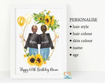 mum sunflower gift mother and daughter personalised print mum birthday gift sunflowers print for mum 80th 70th 60th 50th 40th flowers