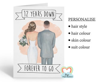 12th anniversary card, personalised 12th anniversary card, 12th wedding anniversary, 12 years down forever to go, wedding couple card